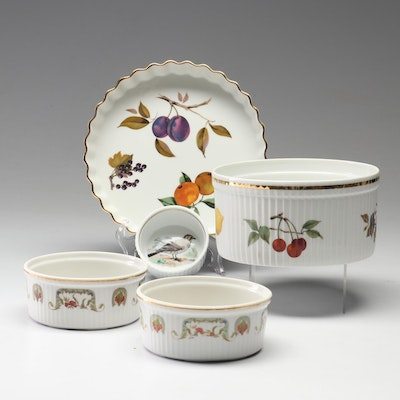 "Royal Worcester ""Evesham"" and Lourioux ""Le Faune"" Porcelain Bakeware"