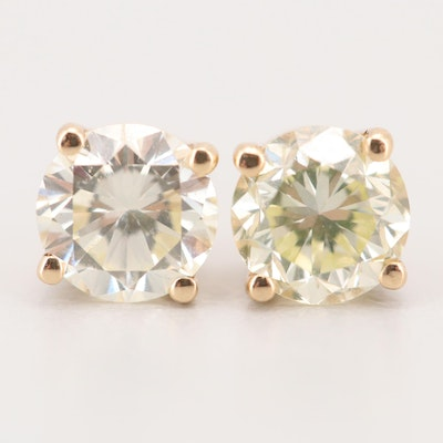 14K Yellow Gold 1.31 CTW Diamond Stud Earrings