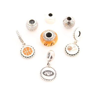 Seven Pandora Sports Sterling Silver Wood, Cubic Zirconia and Enamel Charm Beads