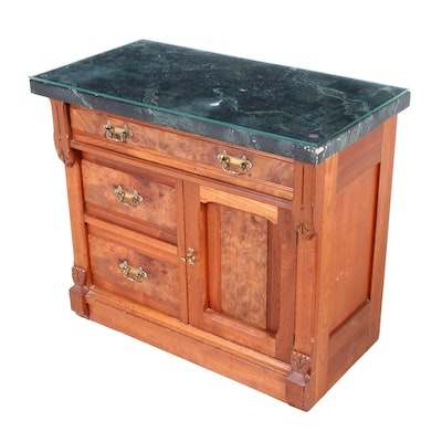 Wooden Washstand with Faux Marble and Glass Top