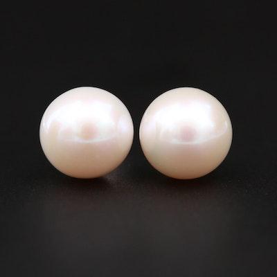 14K White Gold Cultured Pearl Earrings