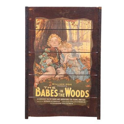 """1917 Movie Poster for """"The Babes in the Woods"""" Wooden Wall Hanging"""