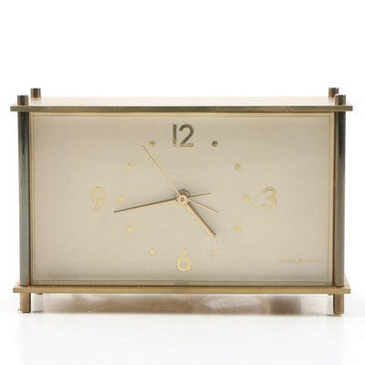 General Electric Brass Desk Clock, Mid to Late 20th Century