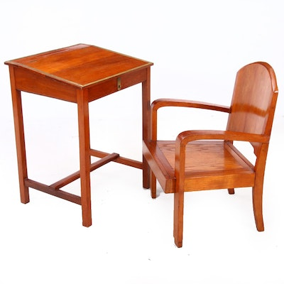 1940s Teak Captain's Desk and Arm Chair