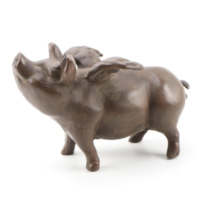 Cast Metal Statue of Flying Pig
