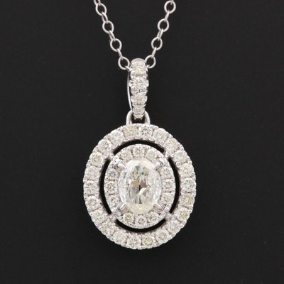 14K White Gold 1.09 CTW Diamond Pendant Necklace