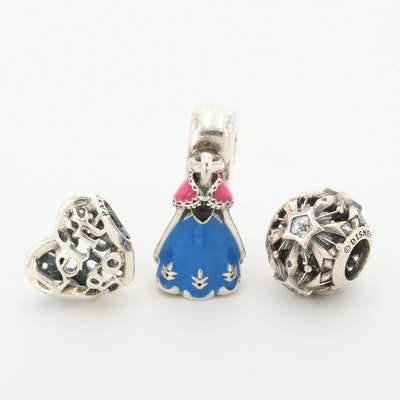 "Disney Pandora ""Frozen"" Sterling Charms Featuring Anna and Cubic Zirconia"