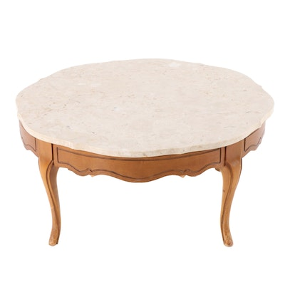 French Provincial Style Coffee Table with Travertine Top, Mid-20th Century