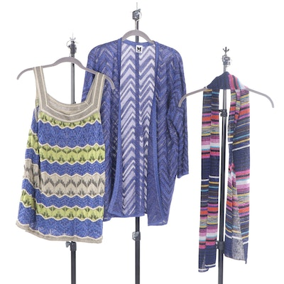 Missoni Cotton Blend Sleeveless Top, Cardigan and Scarf