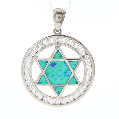 Sterling Silver Opal and Cubic Zirconia Star of David Pendant
