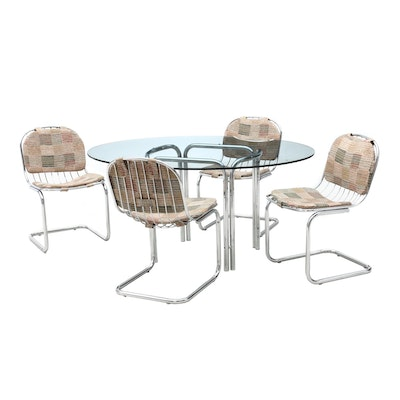 Mid Century Modern Metal Wire Cantilever Chairs and Glass Dining Table
