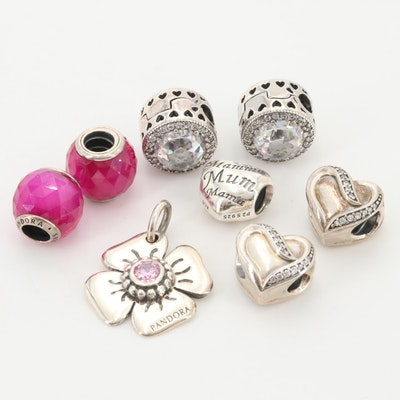 Pandora Sterling Silver Cubic Zirconia and Colored Glass Charms