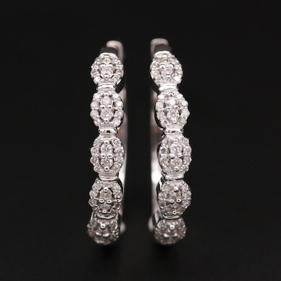 10K White Gold Diamond Huggie Earrings