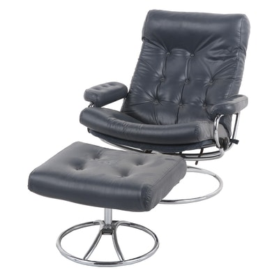 Leather Reclining Office Chair with Matching Ottoman