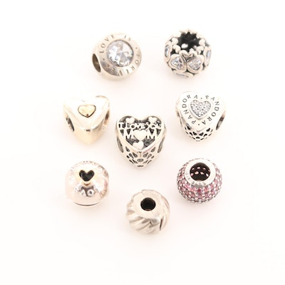 Eight Pandora Sterling Silver Cubic Zirconia and Enamel Charm Beads