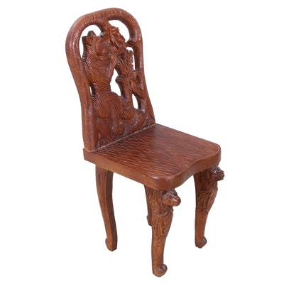 Black Forest Style Diminutive Wooden Chair with Carved Bears, Late 20th Century