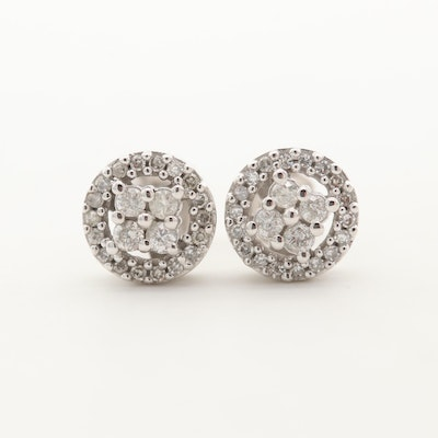 10K Yellow Gold Diamond Stud Earrings