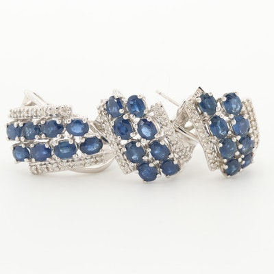 14K White Gold Sapphire and Diamond J-Hoop Earrings