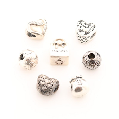 Seven Pandora Sterling Silver Diamond and Cubic Zirconia Charm Beads