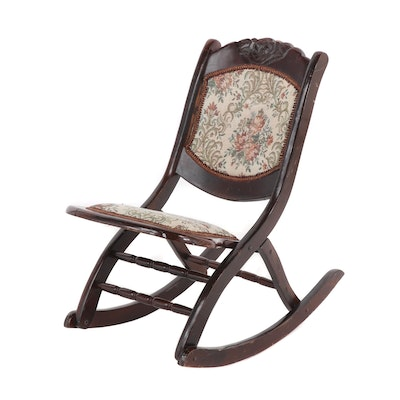 Victorian Style Folding Rocking Chair, circa 1950 Vintage