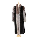 Ranch Mink Fur Coat with Silver Fox Fur Trim from Kotsovos