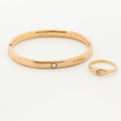 Antique 10K and 14K Yellow Gold Diamond Ring and Bangle Bracelet