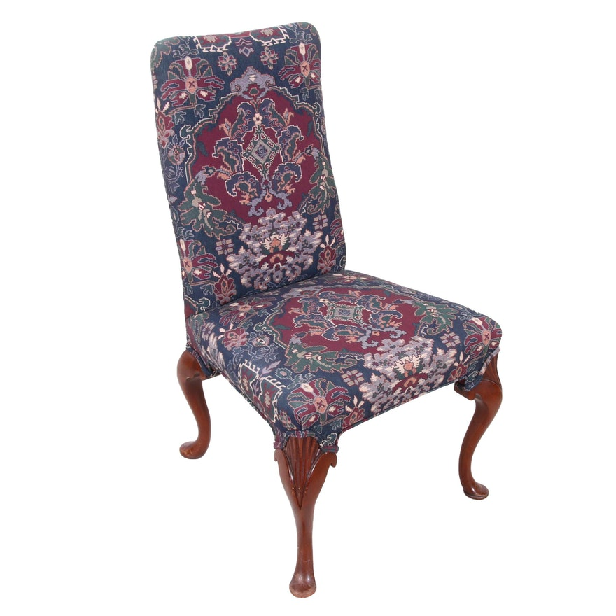 Queen Anne Style Upholstered Dining Chair, Late 20th Century