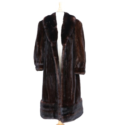 Furs By Don Woolf of Palm Springs, Ca. Mink Fur Coat with Embroidered Lining