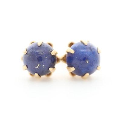 14K Yellow Gold Lapis Lazuli Stud Earrings
