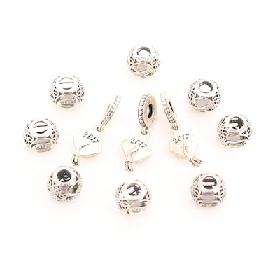 Eleven Pandora Sterling Silver Cubic Zirconia Charm Beads