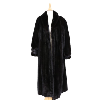 Mink Fur Full-Length Coat with Tapered Cuffs and Black Leather Gloves