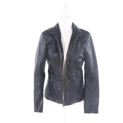 Marc New York Andrew Marc Zip-Front Leather Jacket