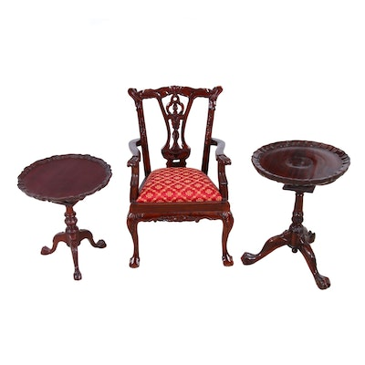 Diminutive Chippendale Style Mahogany Chair and Tables, Mid to Late 20th Century