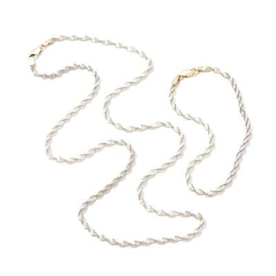 Italian Sterling Silver Herringbone Twist Necklace and Bracelet Set
