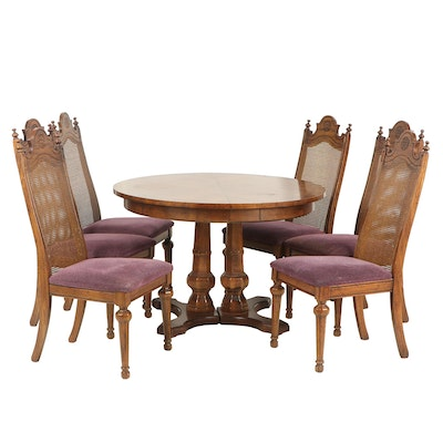 Transitional Wooden Dining Set with Six Chairs, Mid to Late 20th Century