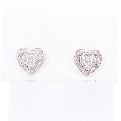 14K White Gold Diamond Heart Stud Earrings