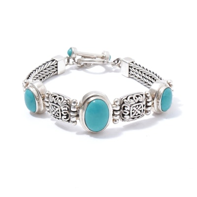 Sterling Silver and Dyed Turquoise Bracelet