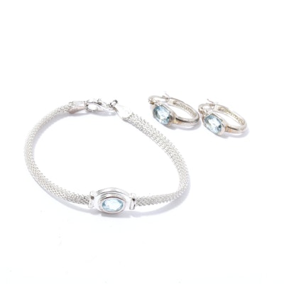 Sterling Silver, Blue Topaz Bracelet and Earrings