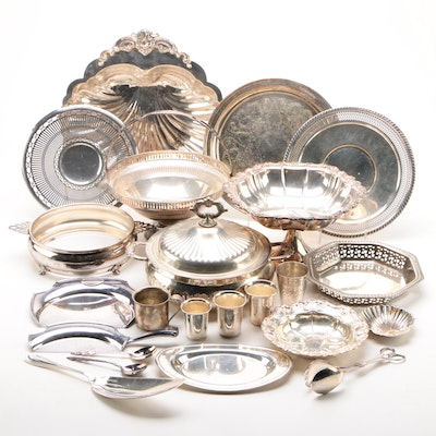 """Wallace Silversmiths """"Baroque"""" Serving Platter and Other Silver-Plated Pieces"""