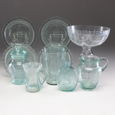 Assorted Glassware Featuring Cut Glass Plates, Vases, and More
