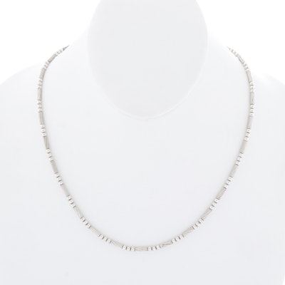 Italian Sterling Silver Beaded Necklace