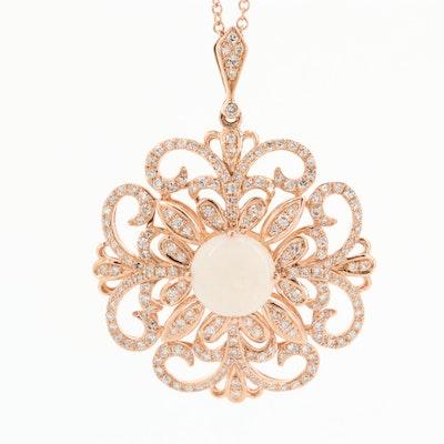 Effy 14K Yellow Gold Opal and Diamond Pendant Necklace