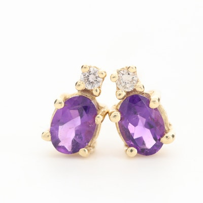 14K Yellow Gold Amethyst and Diamond Stud Earrings