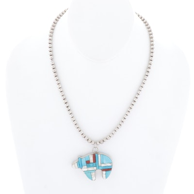 Sterling Silver and Inlay Gemstone Pendant Necklace