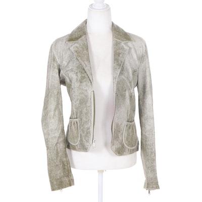 Bolsa Distressed Leather Zipper-Front Jacket