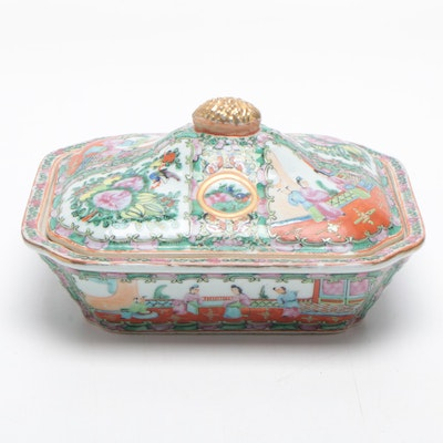 Chinese Rose Medallion Ceramic Covered Dish