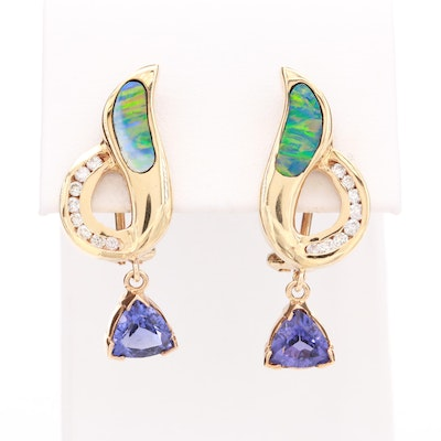 14K Yellow Gold Diamond, Synthetic Opal, and Glass Earrings
