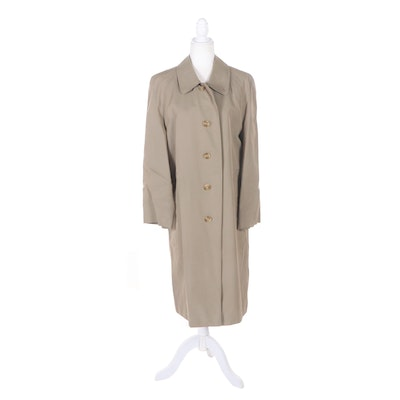 "Burberry Khaki Button-Front Trench Coat with ""Nova Check"" Lining"