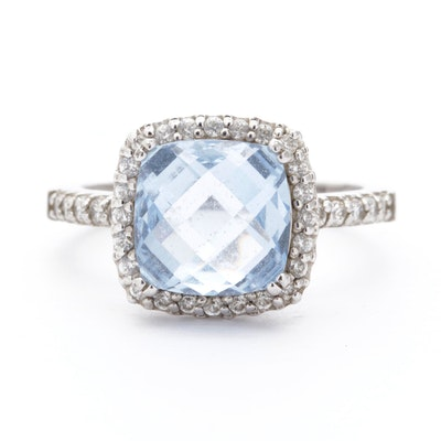 Sterling Silver, Blue Topaz and Cubic Zirconia Ring
