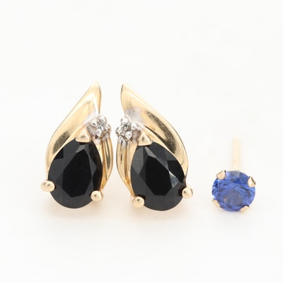 14K Yellow Gold Black Onyx and Diamond Earrings with 10K Sapphire lSingle Stud